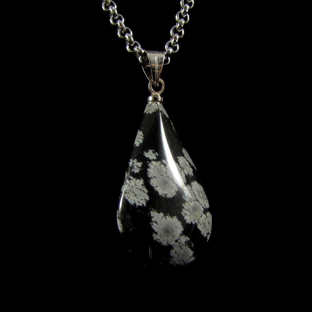 Pingente Pedra Natural Obsidiana Floco de Neve