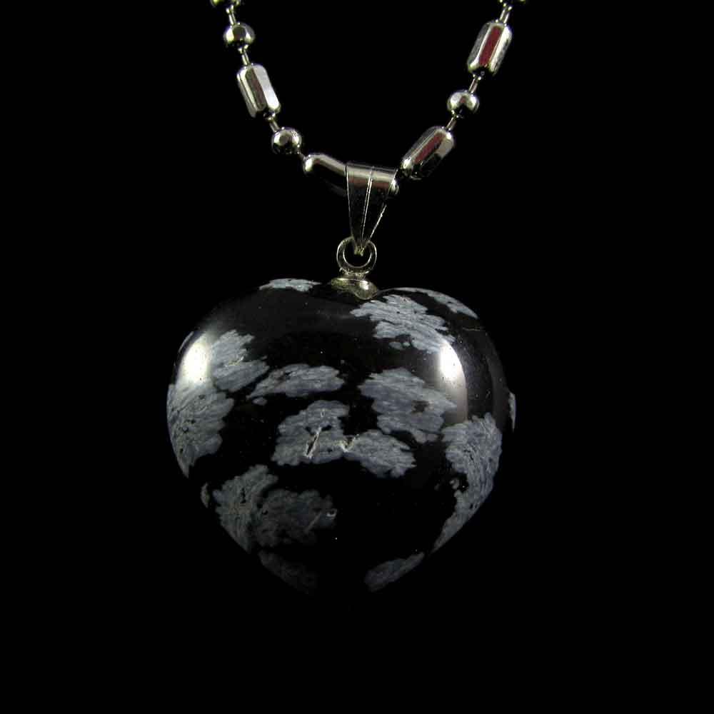 Pingente Pedra Natural Obsidiana Floco de Neve Coração