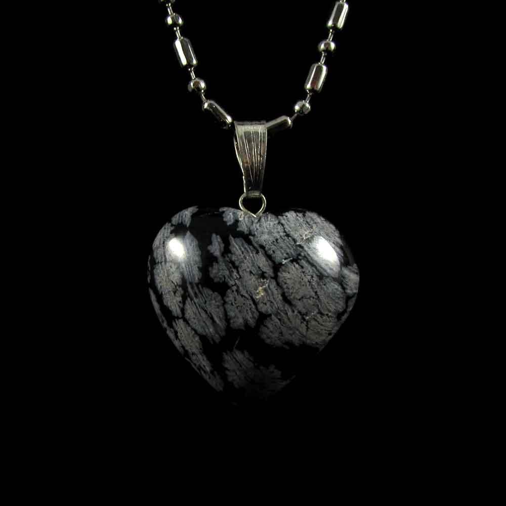 Pingente Pedra Natural Obsidiana Floco de Neve Coração - 2797