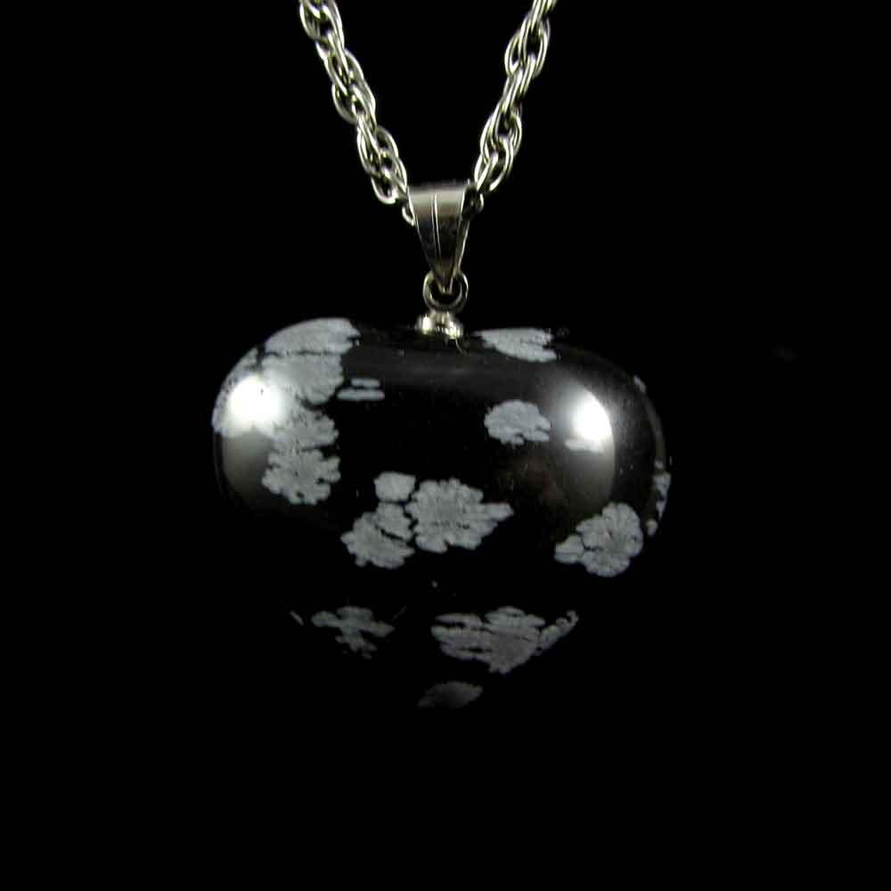 Pingente Pedra Natural Obsidiana Floco de Neve - Coração
