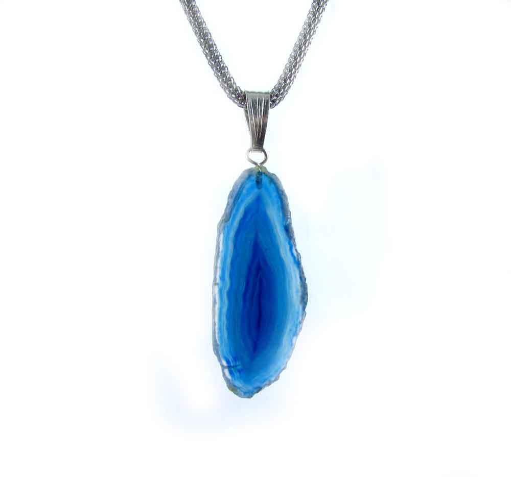 Pingente Pedra Natural  Placa de Ágata Azul