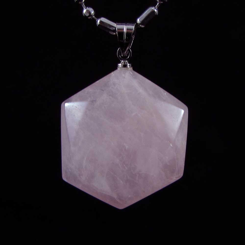 Pingente Pedra Natural Quartzo Rosa Hexágono M