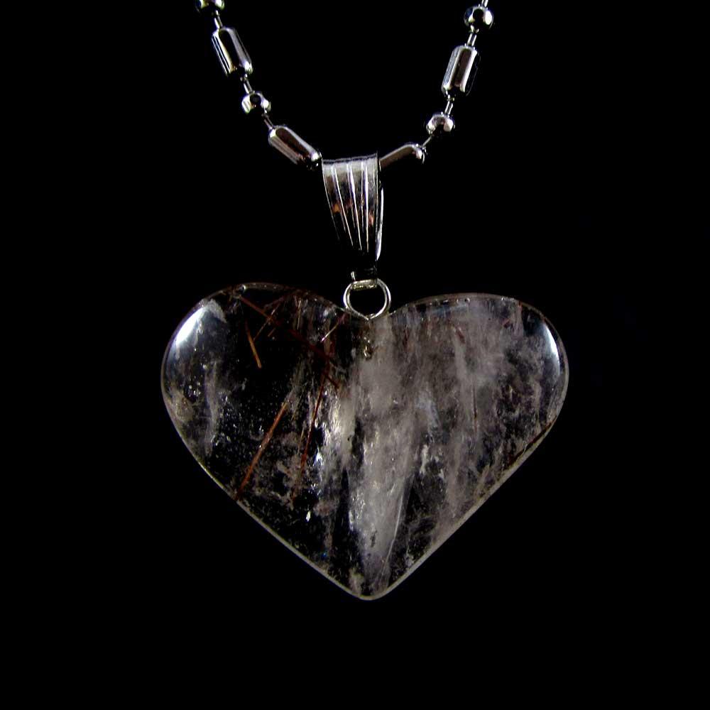 Pingente Pedra Natural Rutilo Coração G