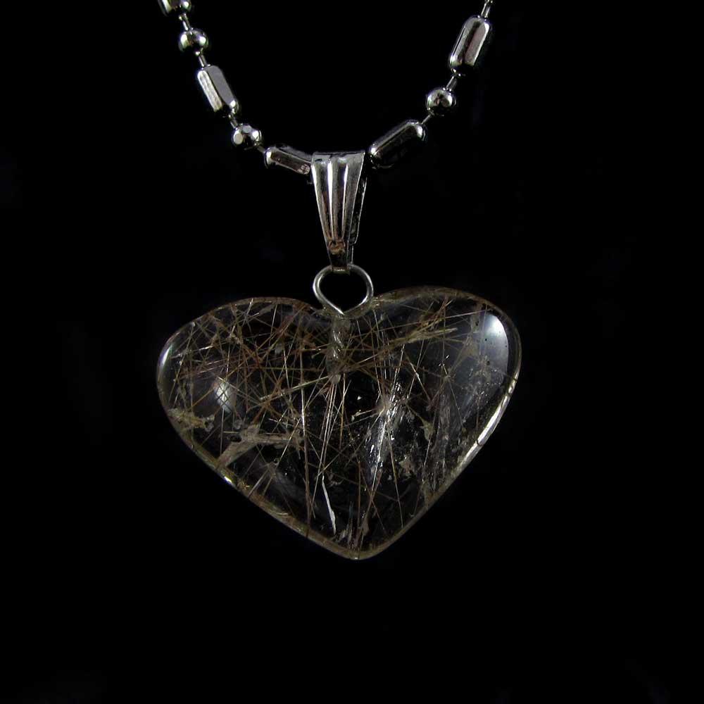 Pingente Pedra Natural Rutilo Coração M