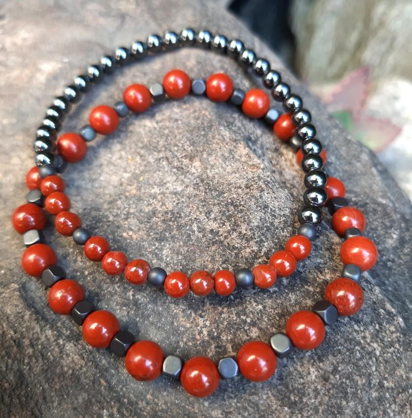 Pulseira  Dupla de Pedras Naturais Jaspe  Vermelho e Hematita Fosca e Brilhante