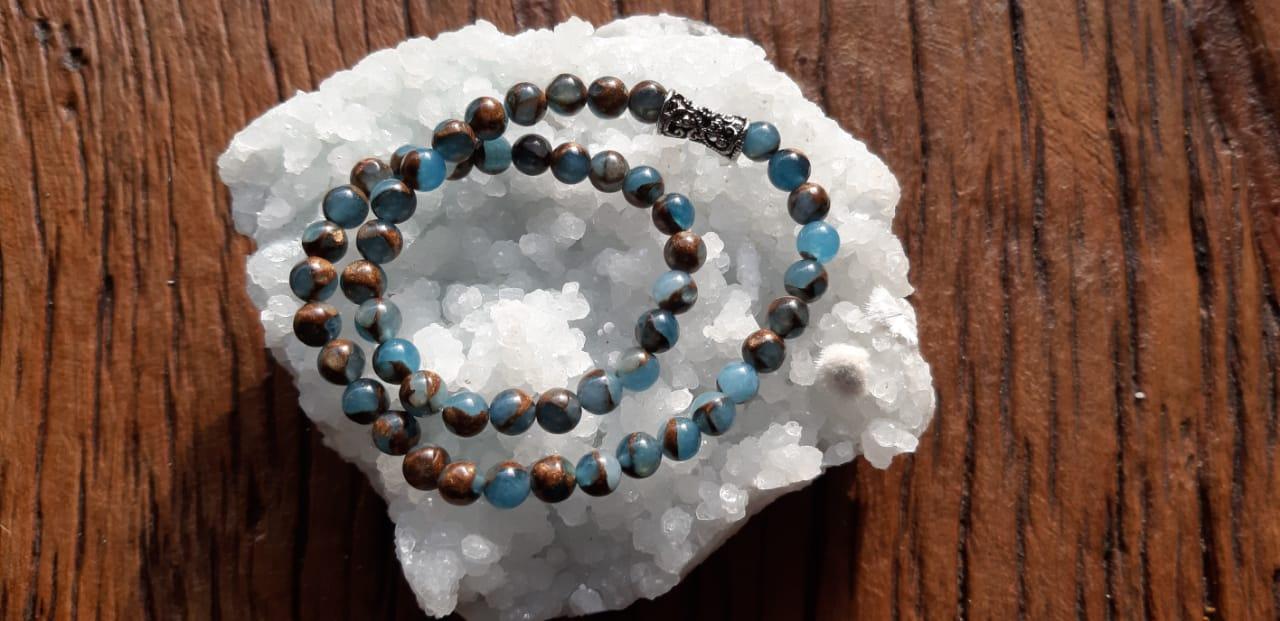 Pulseira  Dupla Pedra Natural Ágata Blue Lake