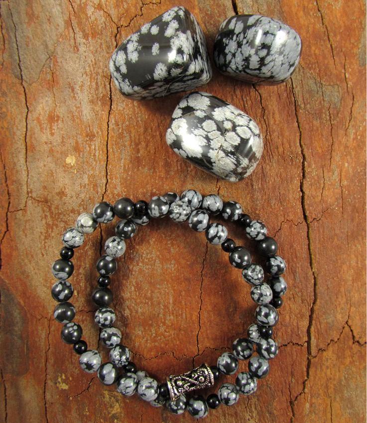 Pulseira Dupla Pedra Natural Obsidiana Floco de Neve com Arabesco Prateado