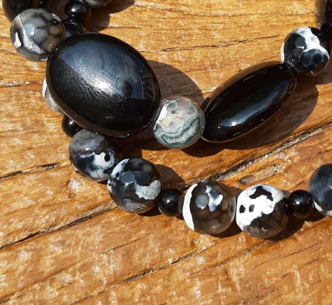 Pulseira Dupla Pedras Naturais Turmalina Negra e Ágata