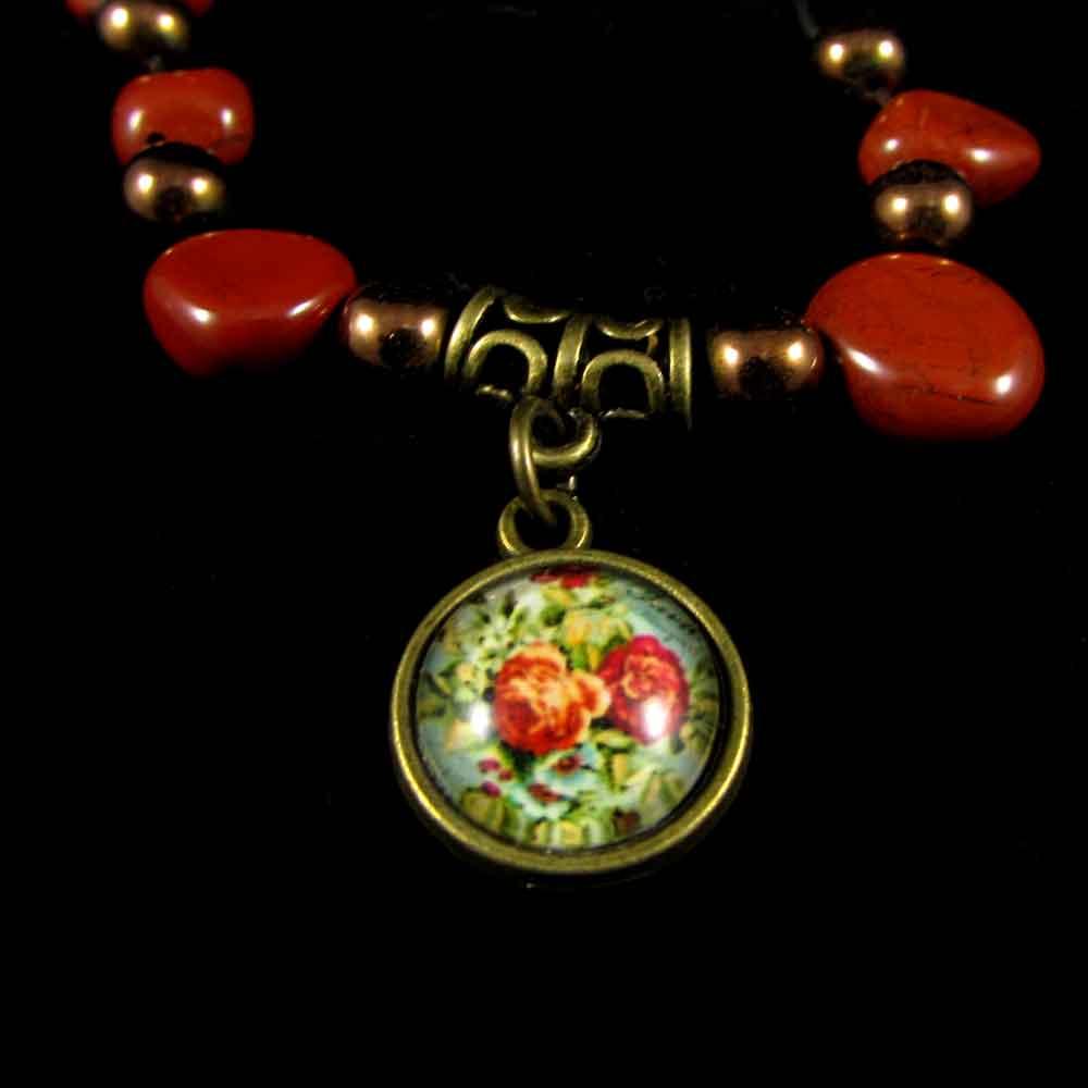 Pulseira Jaspe Vermelho e Hematita Pedra Natural - 2469