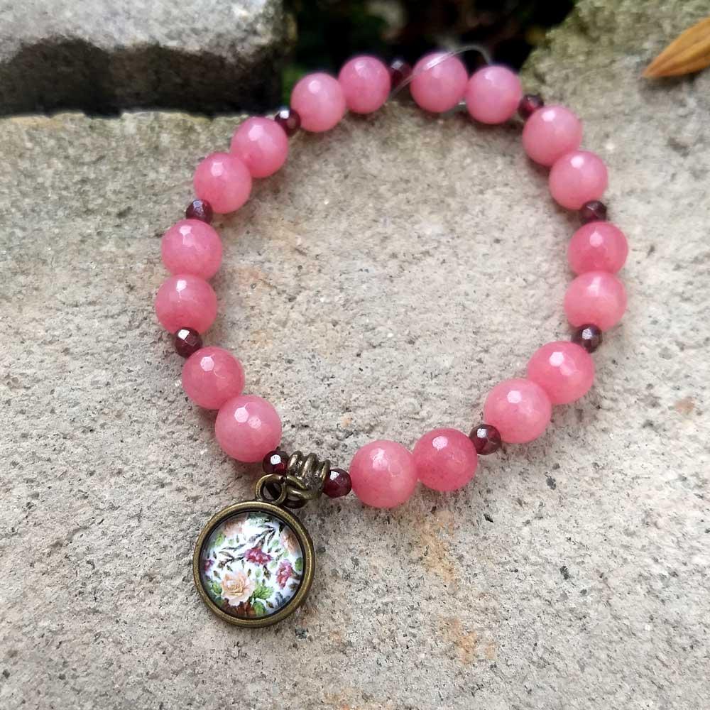 Pulseira Pedra Natural Jade Rosa e Granada
