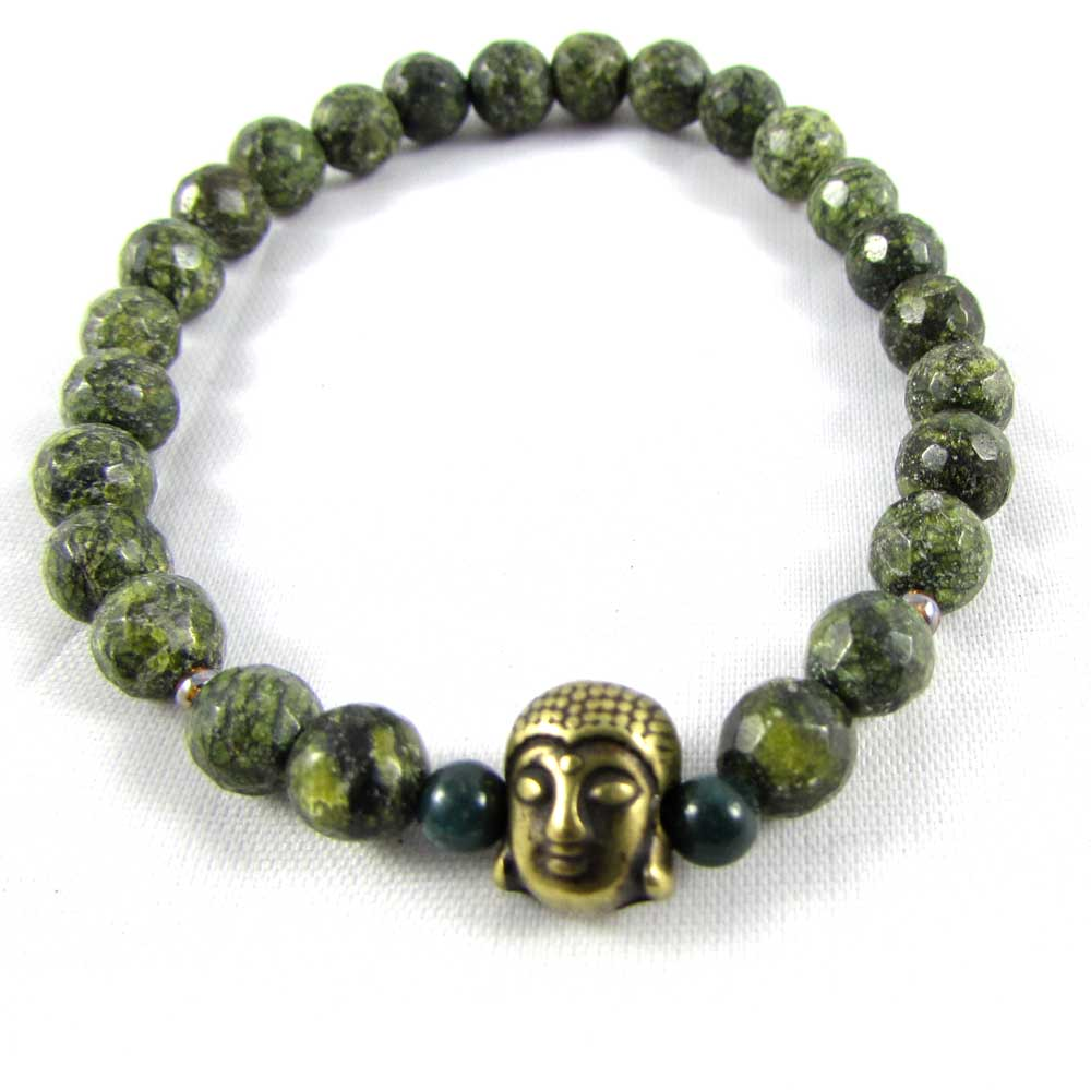 Pulseira Pedra Natural Jaspe Pele de Cobra com Adorno de Buddha em Ouro Velho