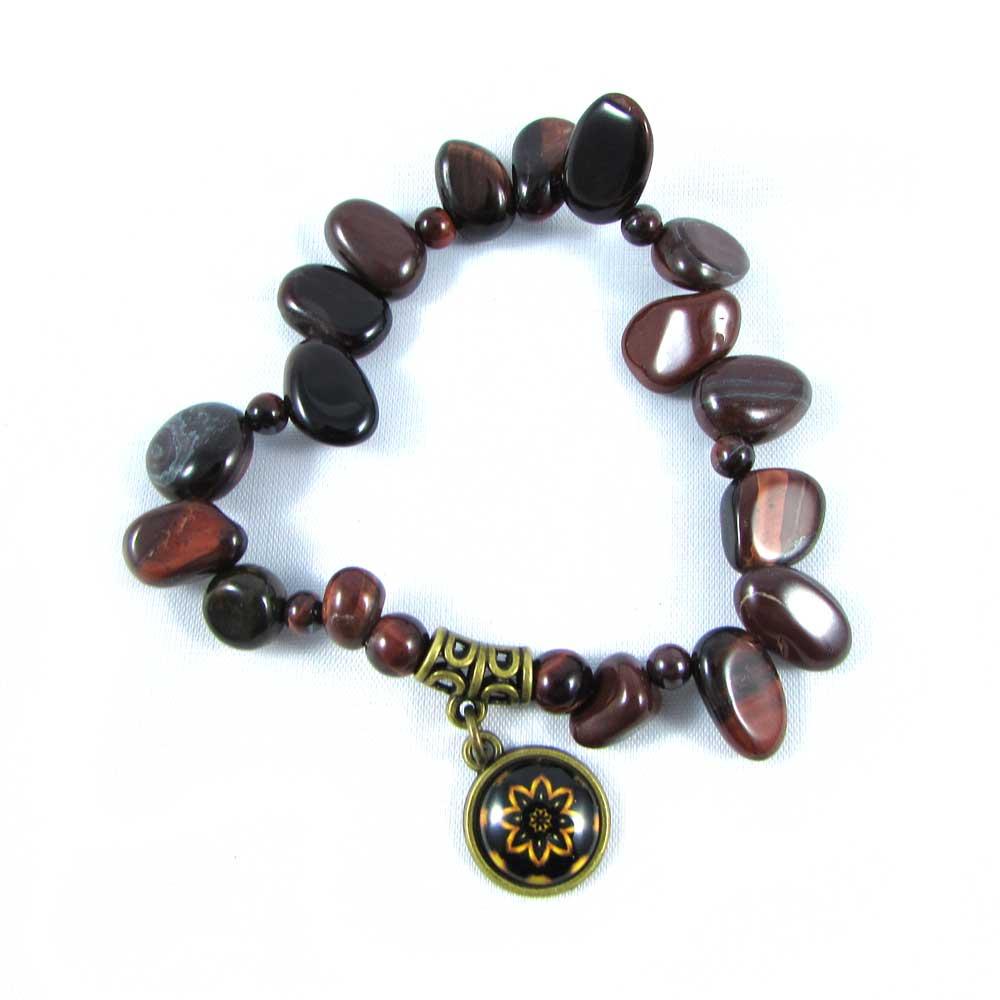 Pulseira Pedra Natural Olho de Boi com Pingente de Mandala