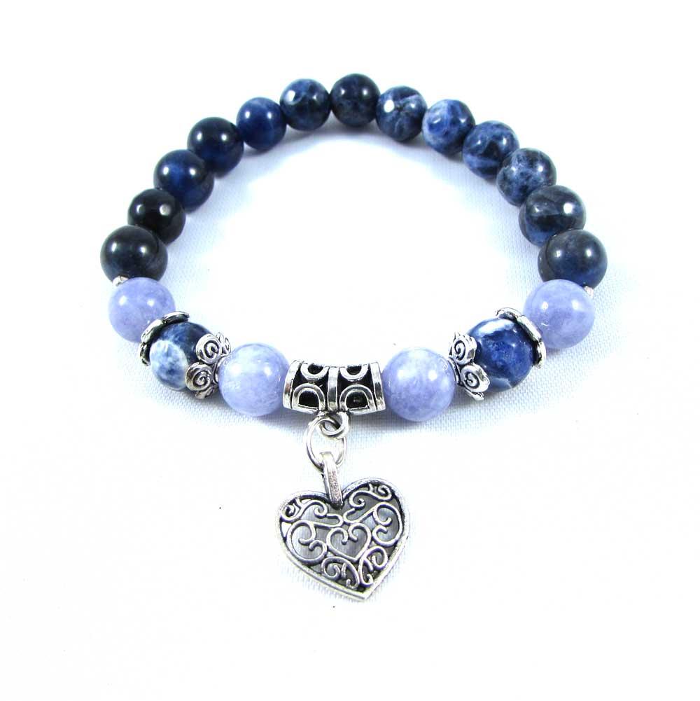 Pulseira Pedras Naturais Sodalita e Ágata Azul com Pingente Coração
