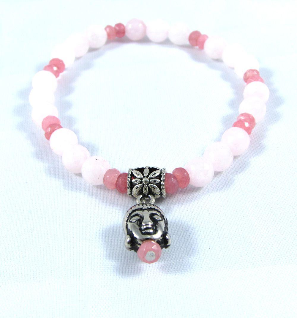 Pulseira  Pedra  Natutal Quartzo Rosa com Pingente de Buddha Prateado