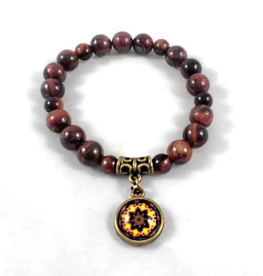 Pulseira Pedra Olho de Boi Dragão com Pingente de Mandala em Ouro Velho