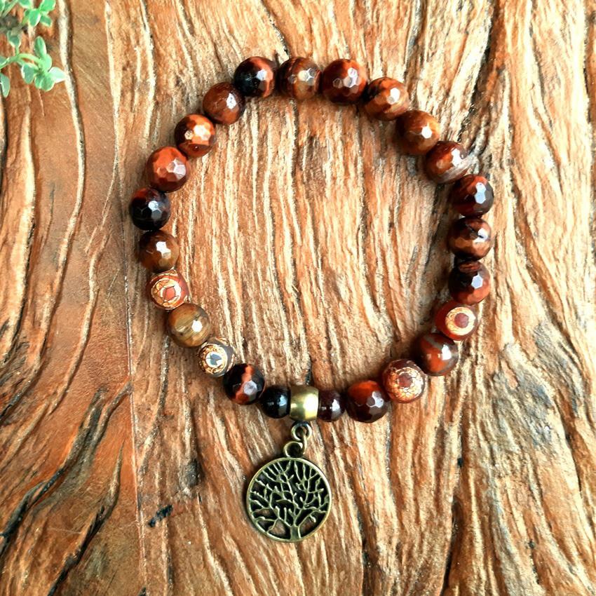 Pulseira Pedras Naturais Olho de Boi Dragão com Ágata Tibetana - Árvore da Vida