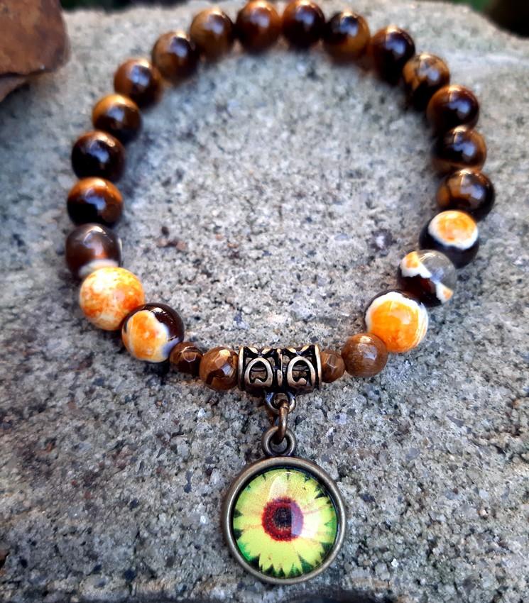 Pulseira Pedras Naturais Ágata e Olho de Tigre com Pingente Flor