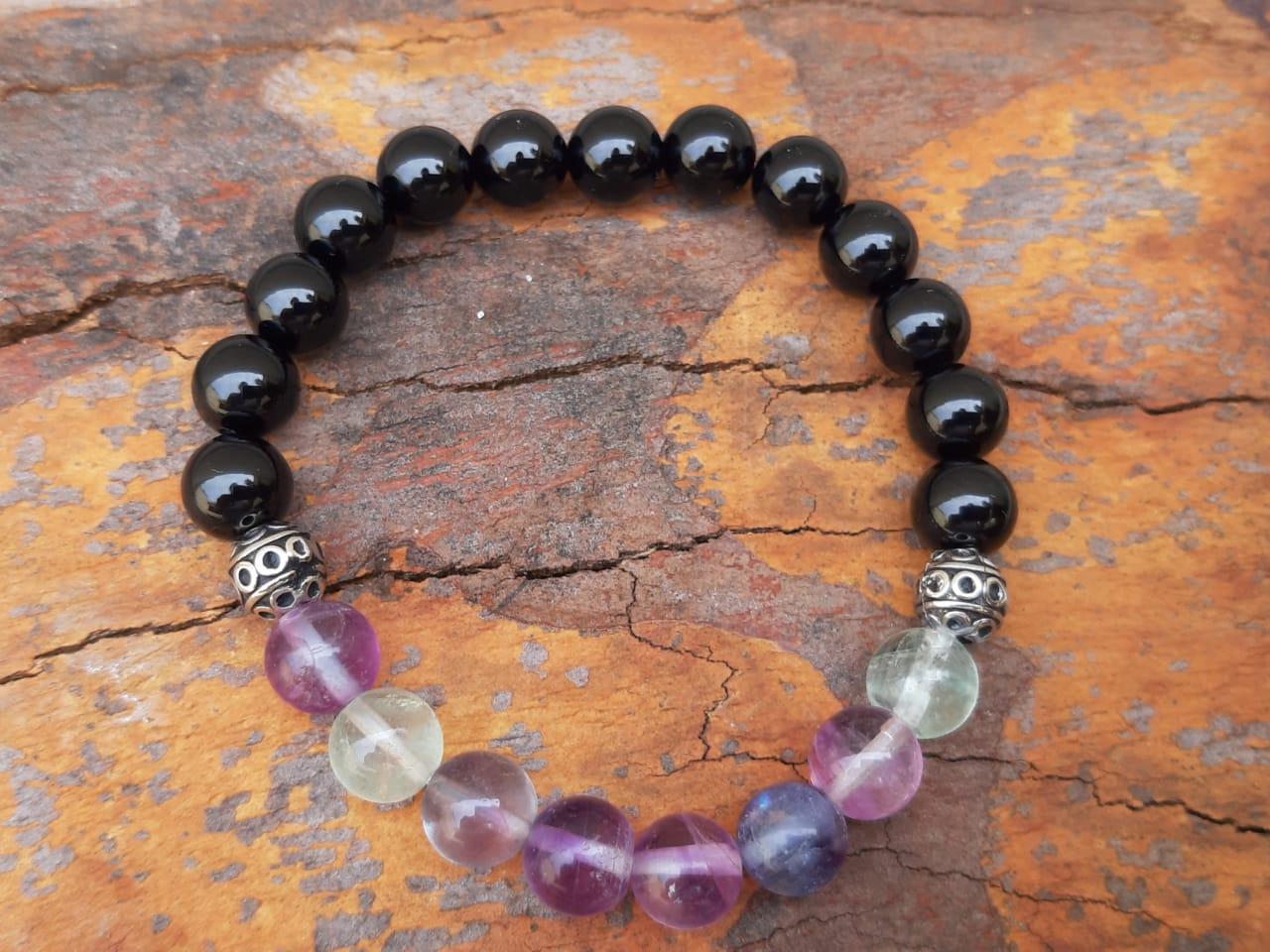 Pulseira  Pedras Naturais  Fluorita Roxa e Turmalina Negra