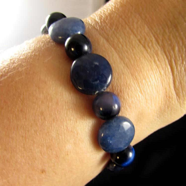 Pulseira  Pedras Naturais  Jade Azul com Olho de Tigre Azul