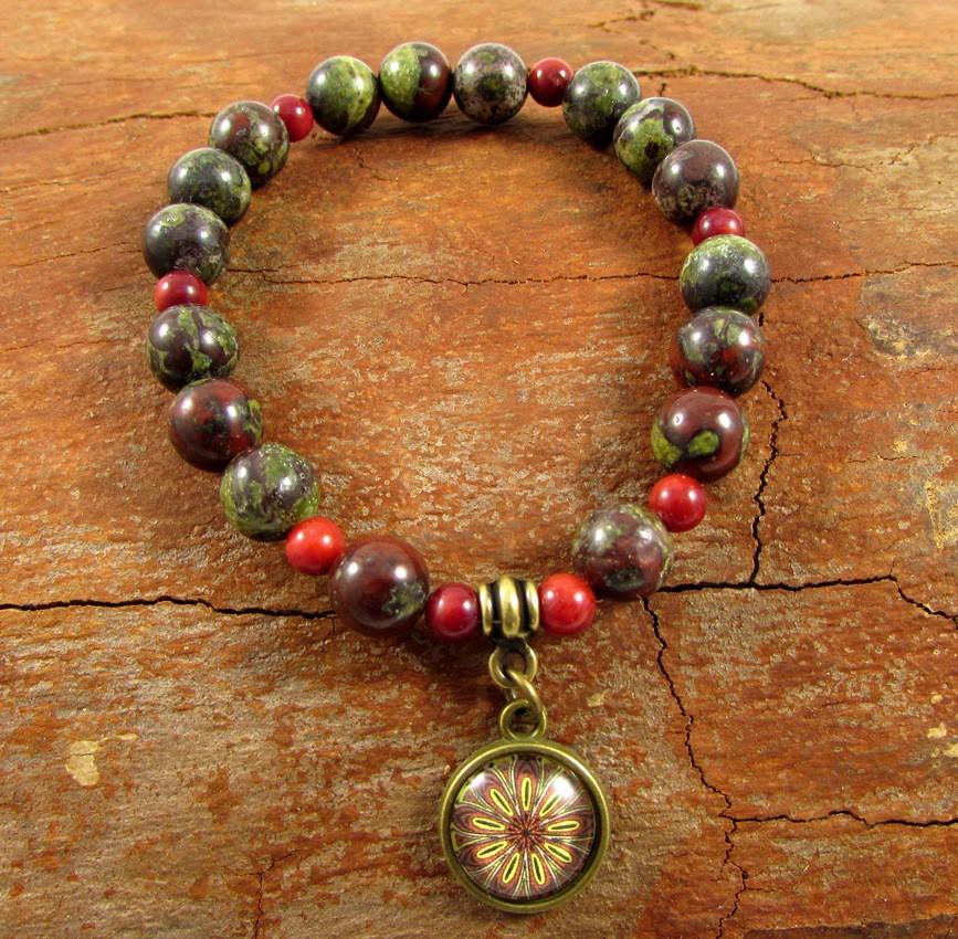 Pulseira Pedras Naturais Jaspe Sangue de Dragão e Coral com Mandala - 4941