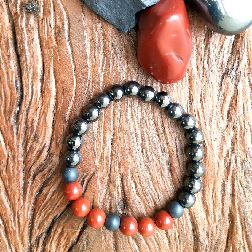 Pulseira  Pedras Naturais Jaspe  Vermelho e Hematita Brilhante