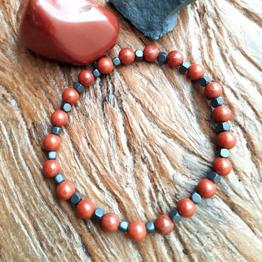 Pulseira  Jaspe  Vermelho e Hematita Fosca Pedras Naturais - 5087