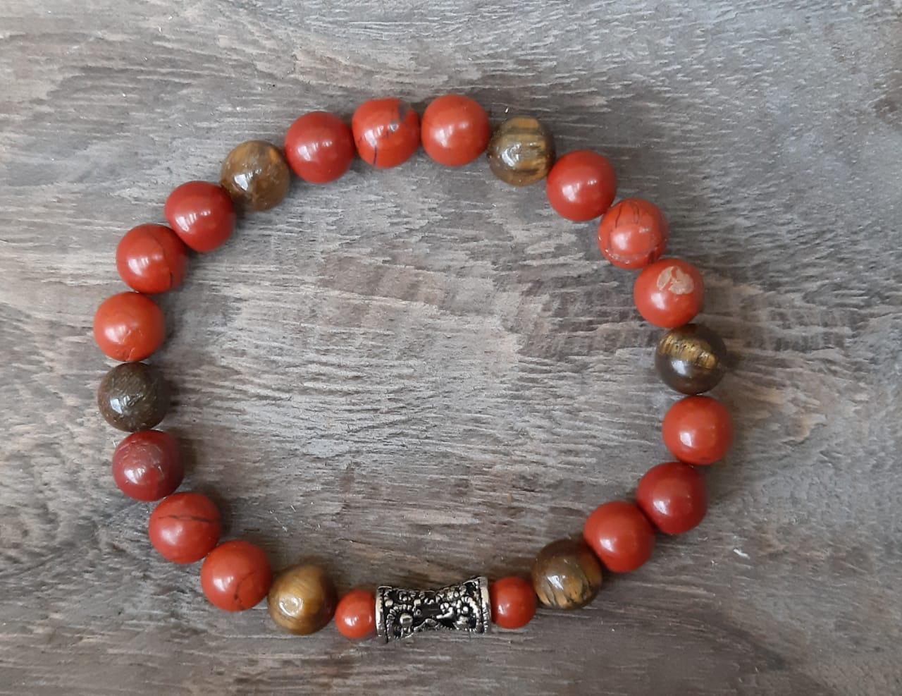 Pulseira  Pedras Naturais Jaspe  Vermelho e Olho de Tigre com Adorno Arabesco Prateado