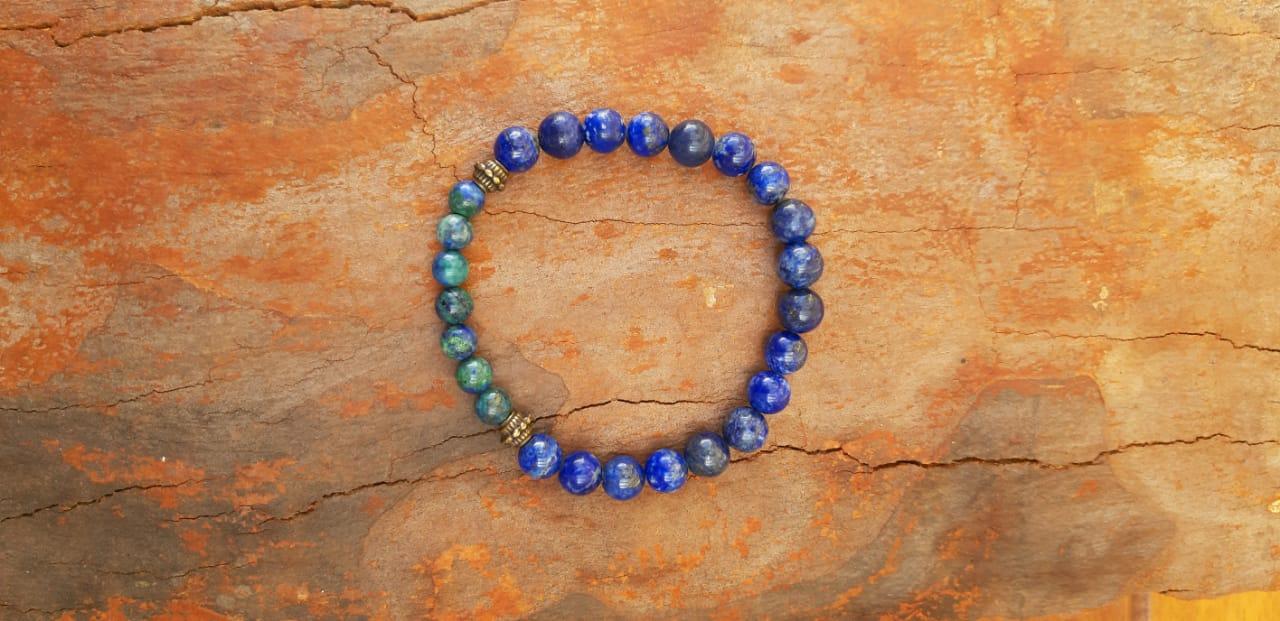 Pulseira  Pedras Naturais Lápis Lazuli e Crisocola