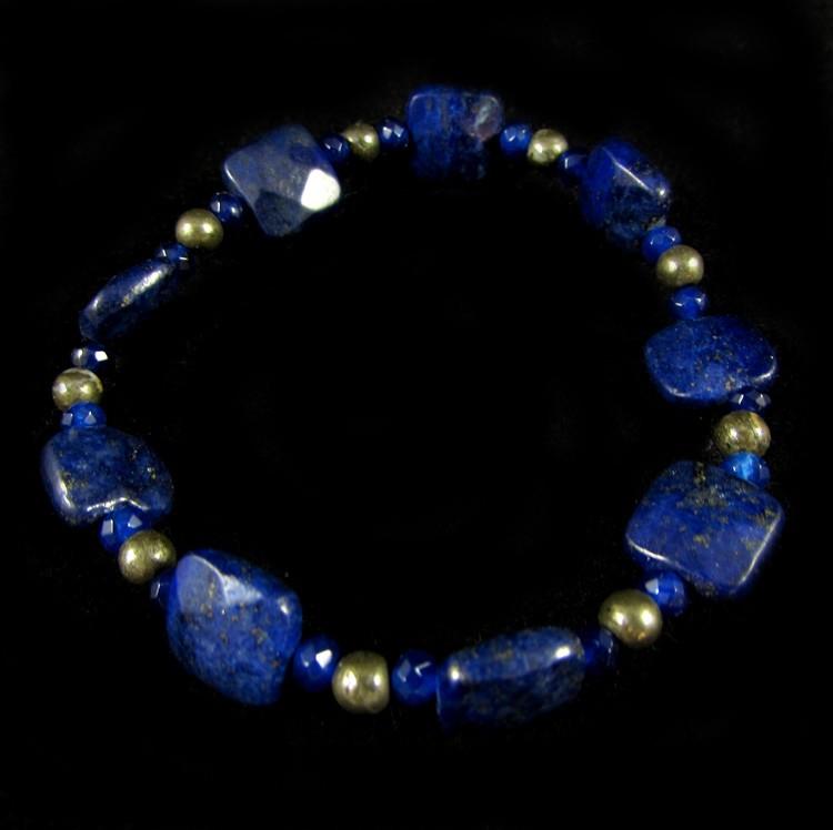Pulseira  Pedras Naturais Lápis Lazuli e Pirita