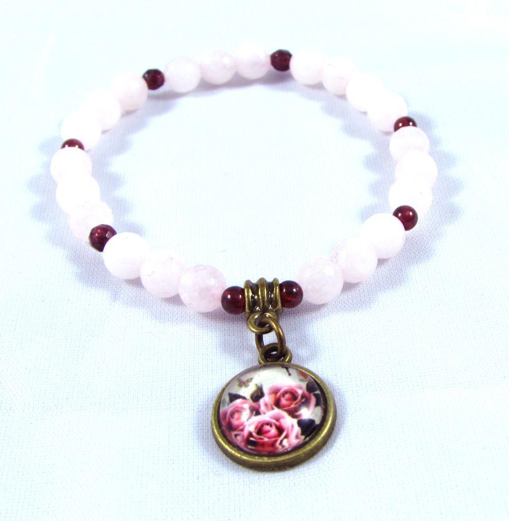 Pulseira  Pedras  Naturais  Quartzo Rosa e Granada com Pingente de Flor em Ouro Velho