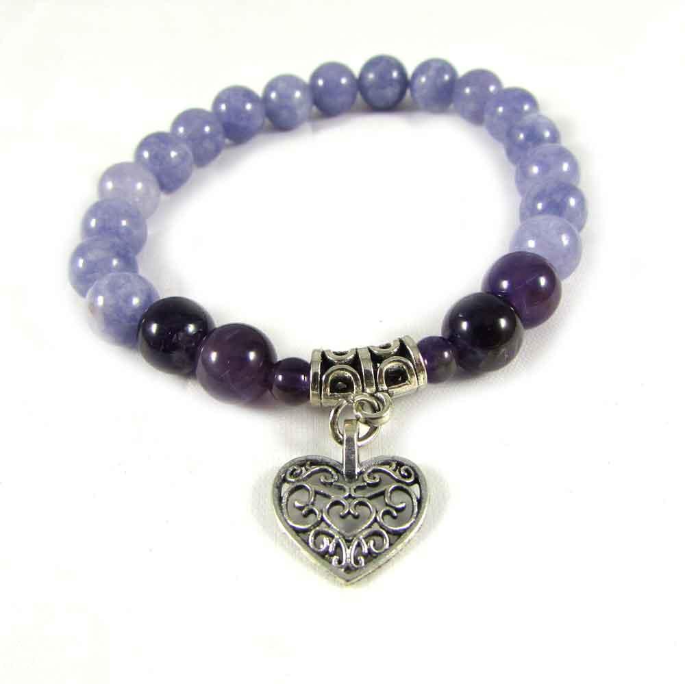 Pulseira Ágata Azul e Ametista com Pingente Coração Prateado Pedras Naturais - 3733