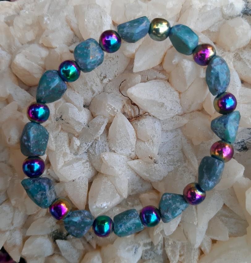 Pulseira Pedras Naturais Turquesa  e Hematita Rainbow
