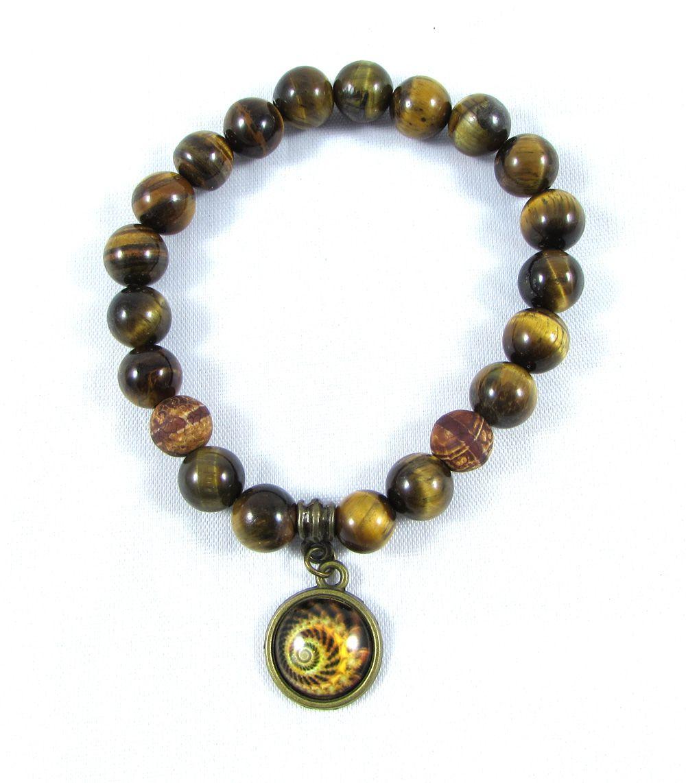 Pulseira Pedras Naturais Olho de Tigre  e Ágata Tibetana  com Pingente de Mandala em Ouro Velho