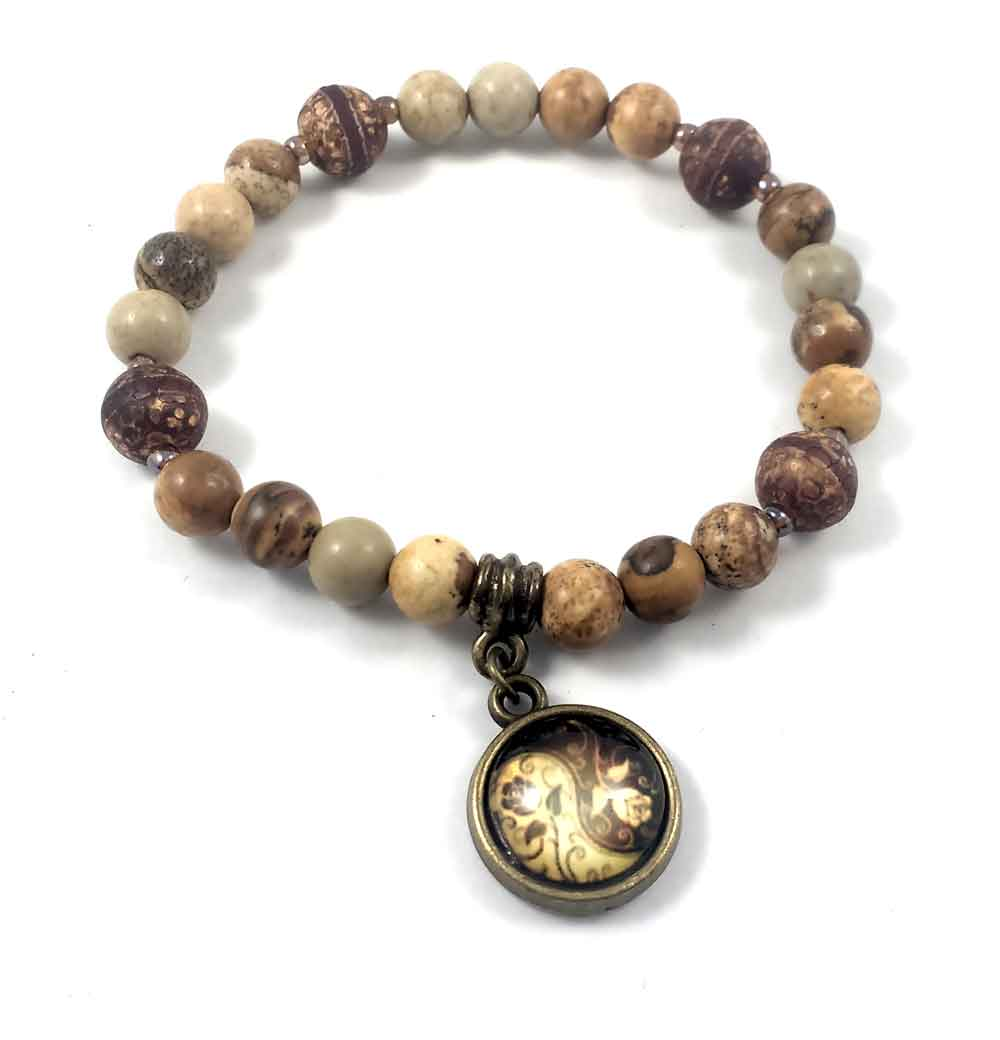 Pulseira Pedras Naturais  Jaspe Madeira e Ágata Tibetana com Pingente Rosa em Ouro Velho