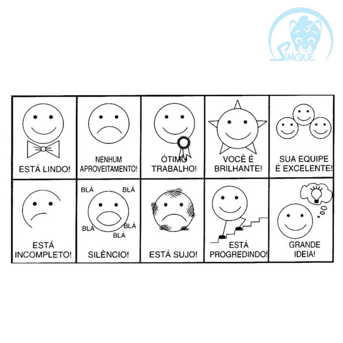 Carimbo Avaliação Modelo Expressões Faciais