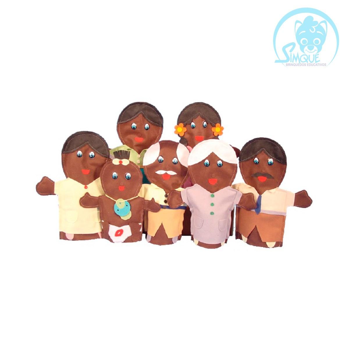 Fantoches Família Negra em Feltro