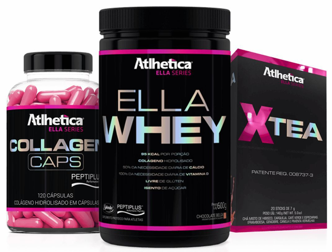 COMBO MASSA & DEFINIÇÃO  Ella Whey (600g) + Collagen (120 cáps) + X-Tea (20 sticks)