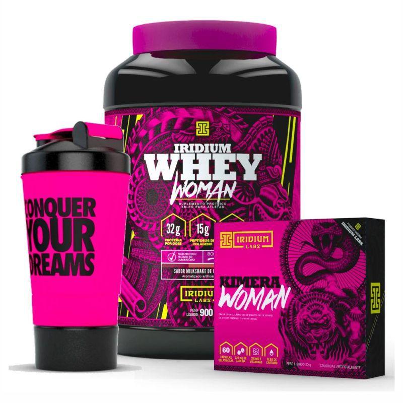 Combo | Whey Woman Sabor Milkshake Chocolate | Kimera Womam | Coqueteleira 3 Compartimentos | Iridium Labs