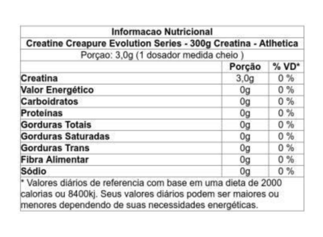 Creatina Creapure  Atlhetica Evolution 300g