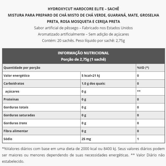 Hydroxycut HardCore Elite (20 sachês)