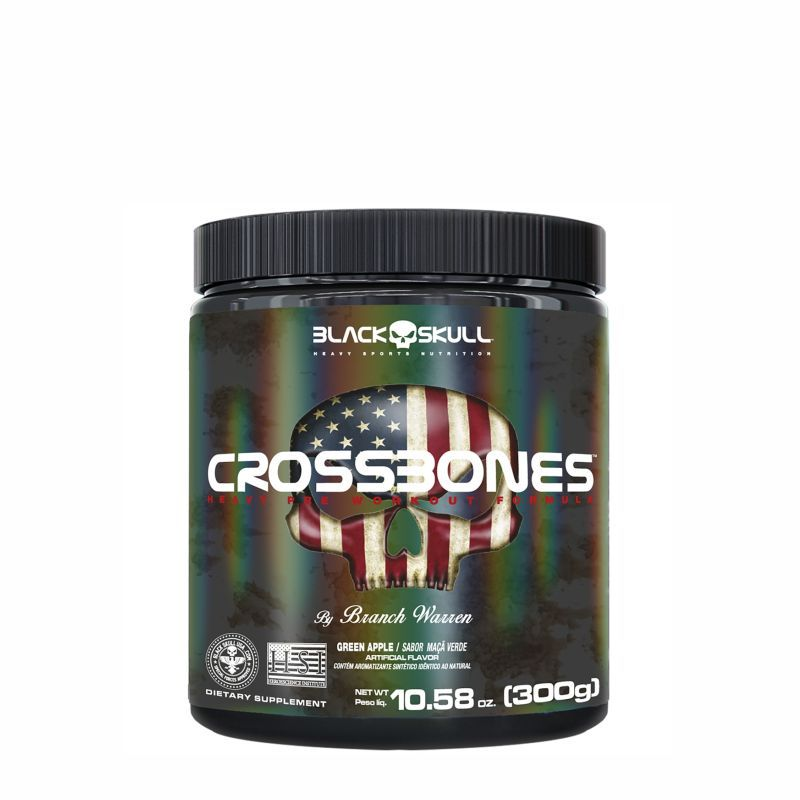 Pré-Treino Crossbones (300G) Black Skull USA™