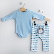 Conjunto Body Azul Bebê e Calça FUN