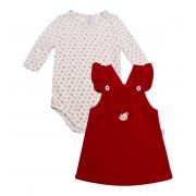 Vestido Jardineira Plush Vermelho + Body estampado