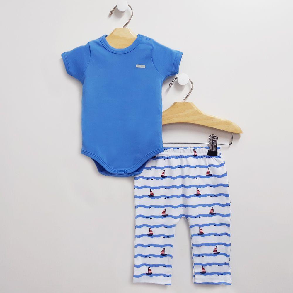 Conjunto Body Azul e Calça FUN