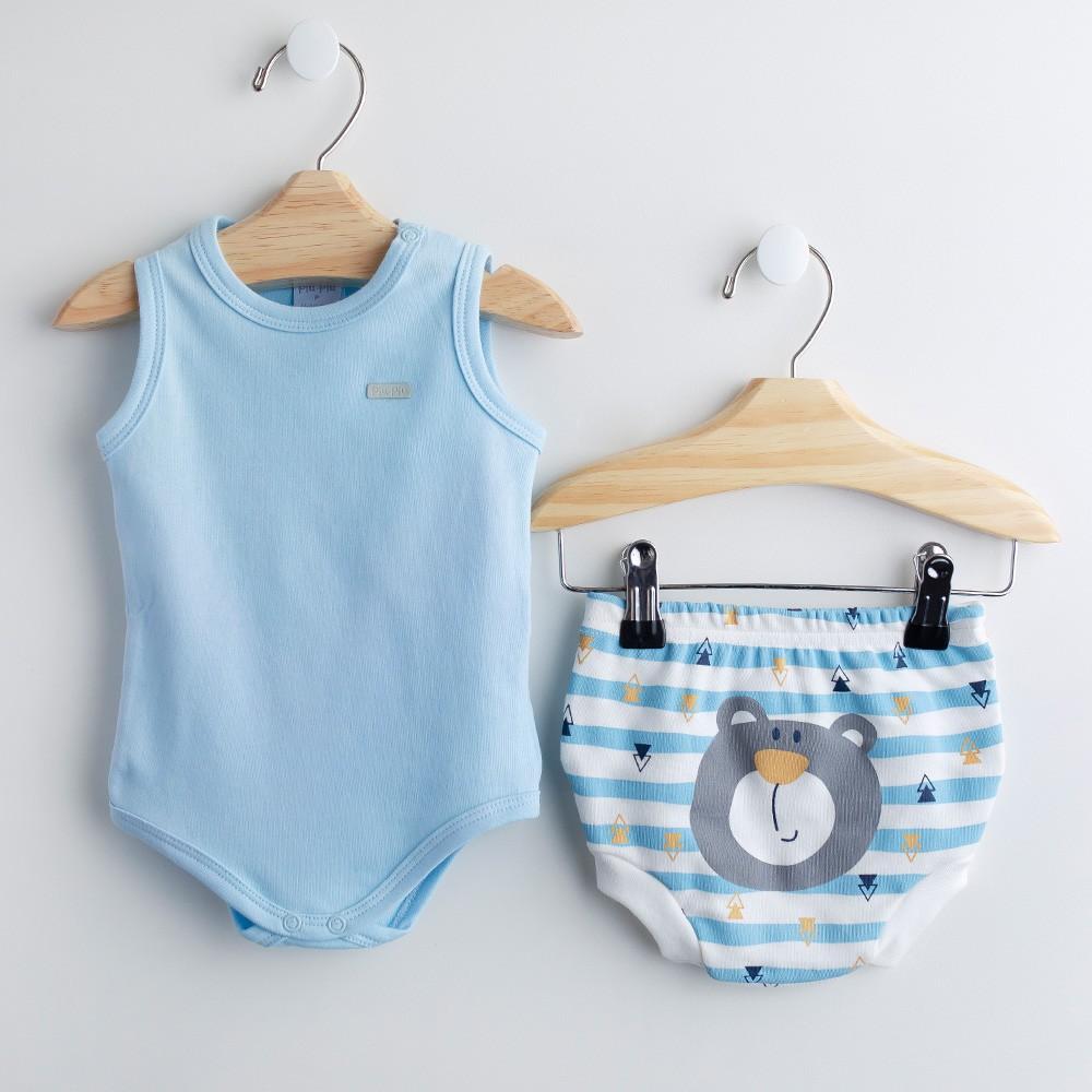 Conjunto Body Azul Bebê e Cobre-fralda FUN