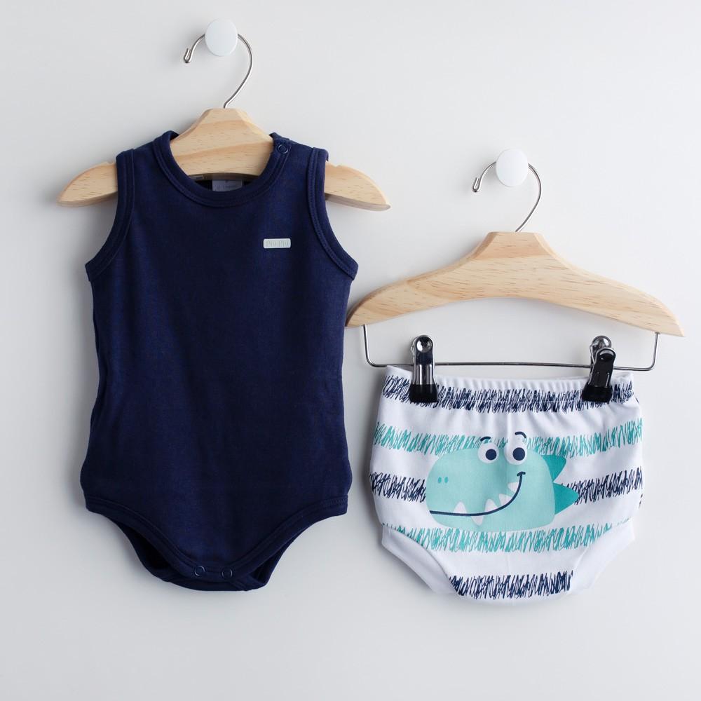 Conjunto Body Azul Marinho e Cobre-fralda FUN