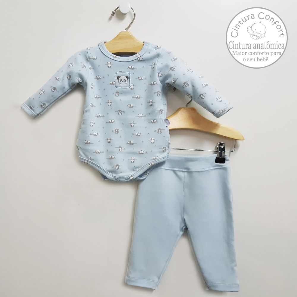 Conjunto Body e Calça Azul Bebê