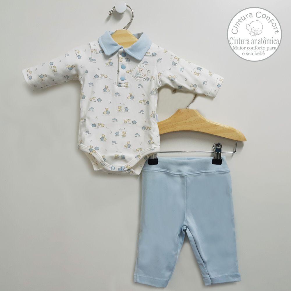 Conjunto Body Polo e Calça Azul Bebê