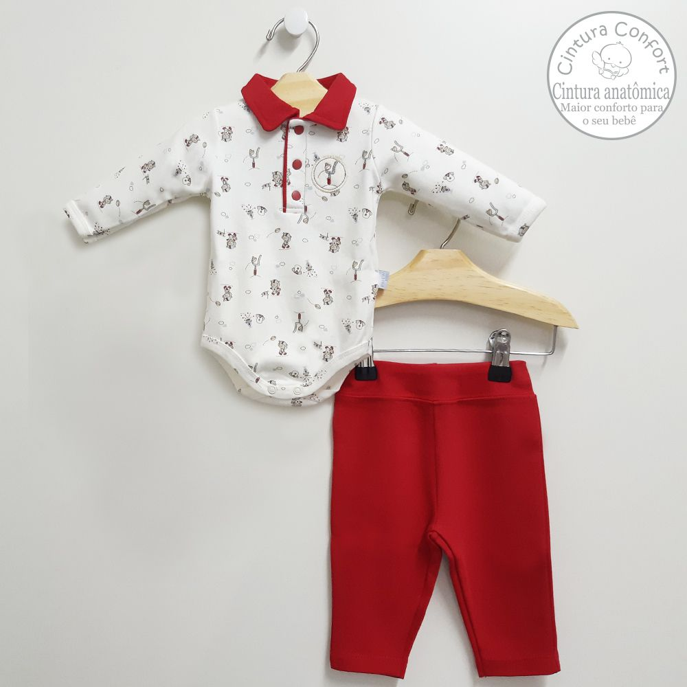 Conjunto Body Polo e Calça Azul Vermelha