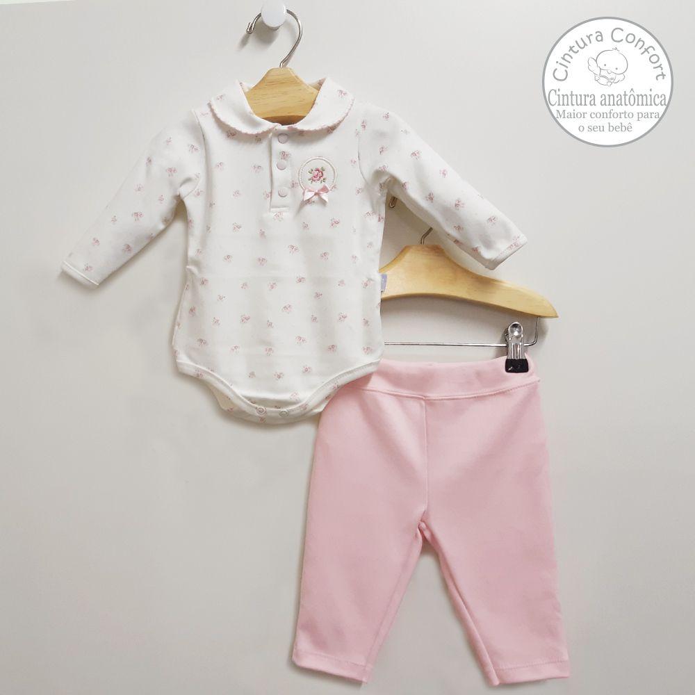 Conjunto Body Polo e Calça Rosa